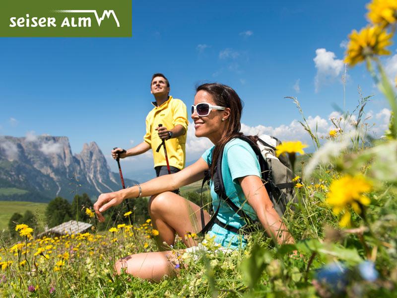 Großansicht - Paar inmitten Bergpanorama und Almwiese