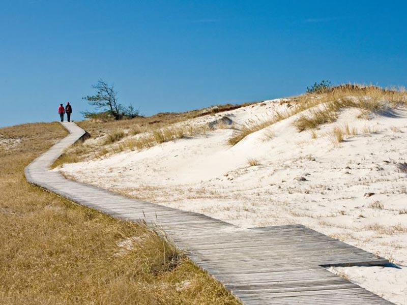 Großansicht - Pärchen das auf einem Holzsteg inmitten der Dünenlandschaft Mecklenburg Vorpommern spaziert Ⓒ TMV