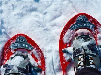Rote Schneeschuhe im Schnee