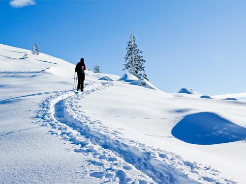 Großansicht - Schneeschuhwanderer in der verschneiten Berglandschaft