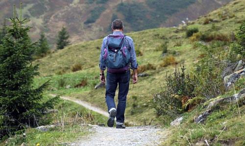 Mann wandert auf der Alm